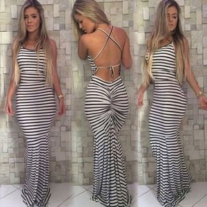 White n black stripes dress boho maxi long maxi